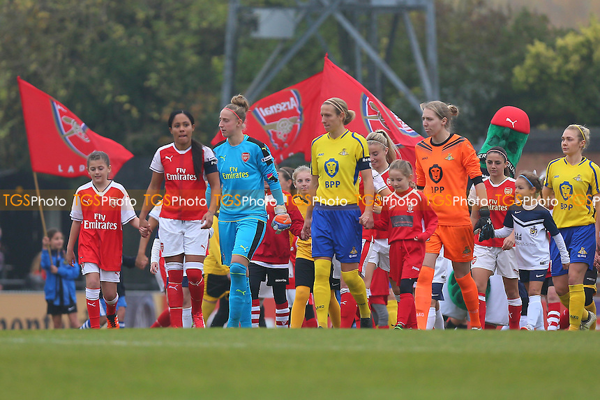 The teams take to the field during Arsenal Ladies vs Doncaster Rovers Belles, FA Women's Super League FA WSL1 Football at Meadow Park, Boreham Wood FC on 30th October 2016