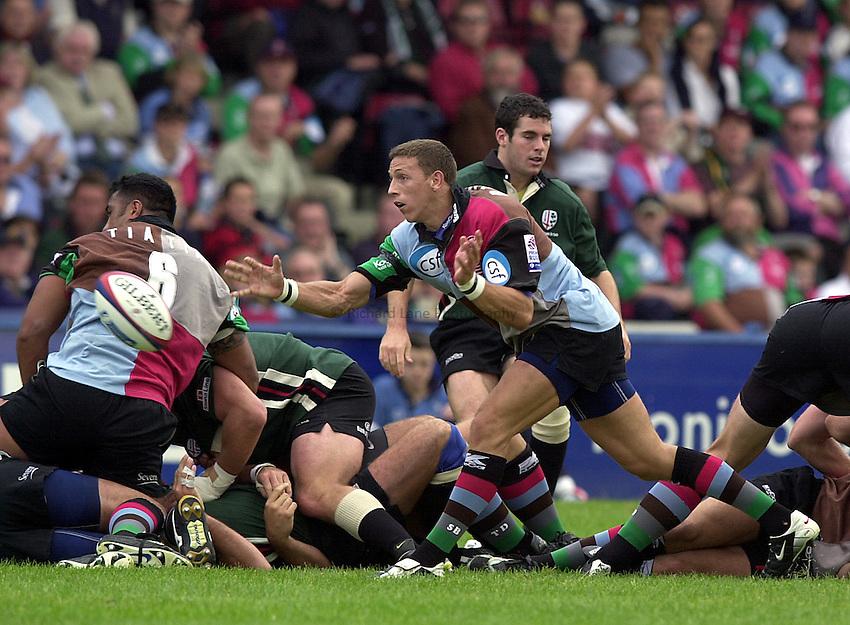 Photo. Richard Lane.NEC Harlequins v London Irish. Zurich Premiership. 21-09-2002.Scott Bemand gets the ball away.