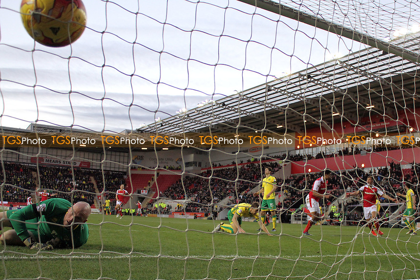 Tom Adeyemi of Rotherham United gets the second goal for Rotherham during Rotherham United vs Norwich City, Sky Bet EFL Championship Football at the New York Stadium on 14th January 2017