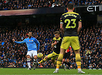 2nd November 2019; Etihad Stadium, Manchester, Lancashire, England; English Premier League Football, Manchester City versus Southampton; Stuart Armstrong of Southampton blocks the shot of Ilkay Gundogan of Manchester City - Strictly Editorial Use Only. No use with unauthorized audio, video, data, fixture lists, club/league logos or 'live' services. Online in-match use limited to 120 images, no video emulation. No use in betting, games or single club/league/player publications