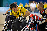 Steve Porter of Australia blocks Canada's Daniel Paradis in the Wheelchair Rugby semi final at the USTB Gymnasium at the Paralympic games, Beijing, China 15th September 2008
