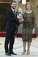 MADRID, SPAIN - JANUARY 10: Juan Mata (L) recieves the National Sports Award 2017 from Queen Sofia (R) during the National Sports Awards 2017 at the El Pardo Palace on January 10, 2019 in Madrid, Spain.  ***NO SPAIN***<br /> CAP/MPI/RJO<br /> &copy;RJO/MPI/Capital Pictures