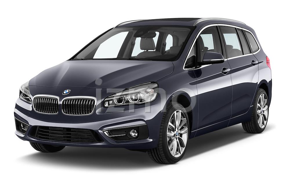 2015 BMW 2 Series Gran Tourer Luxury 5 Door Mini Mpv Angular Front stock photos of front three quarter view