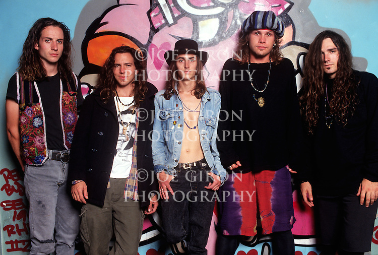 Various portraits & live photographs of the rock band, Pearl Jam