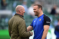 Jamie Roberts of Bath Rugby says hello to ex-Wales team-mate Gareth Thomas during the pre-match warm-up. Heineken Champions Cup match, between Bath Rugby and Stade Toulousain on October 13, 2018 at the Recreation Ground in Bath, England. Photo by: Patrick Khachfe / Onside Images