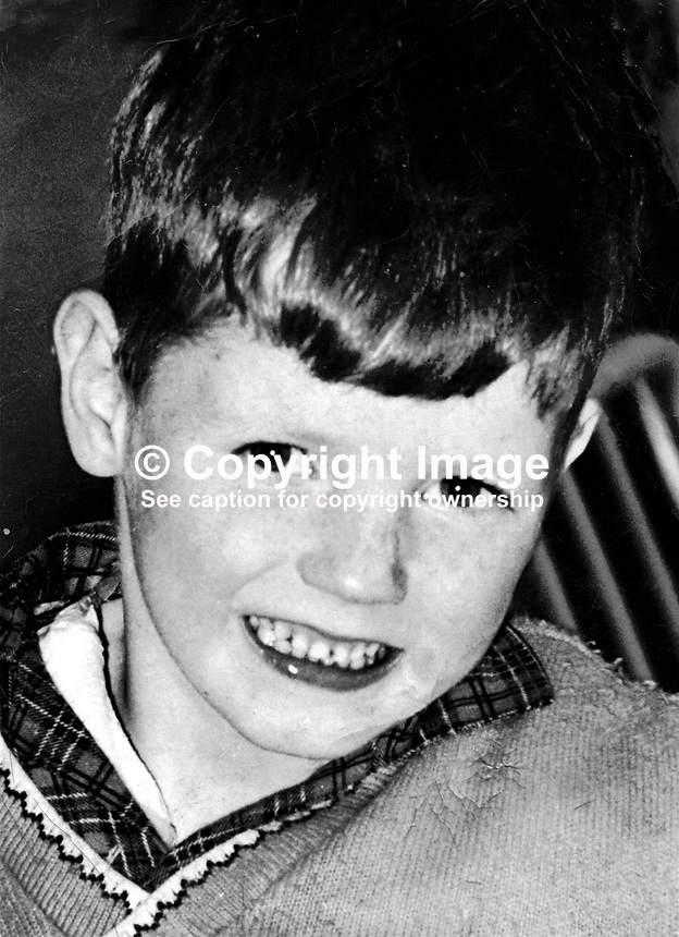 Francis Rowntree, 11 years, from Lower Clonard Street, Belfast, who was hit in the head by a rubber bullet fired by a British soldier during rioting on 20th April 1972. He died on 23rd April 1972 from his injuries. There was controversy at the time as to whether Francis was actually involved in the rioting and that the rubber bullet had been tampered with to make it more lethal. 1972042230239.<br />