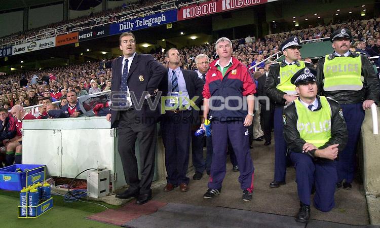 Pix:Ben Duffy/SWpix...The Lions v Waratahs-Sydney Football Stadium , Sydney, Australia...23/06/2001..COPYRIGHT PICTURE>>SIMON WILKINSON..Lion's Tour manager Donal Leniham watches the end of a controversial game against the Waratahs