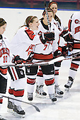 Casie Fields (Northeastern - 9), Brittany Esposito (Northeastern - 7), Maggie DiMasi (Northeastern - 4) - The Northeastern University Huskies defeated the visiting Clarkson University Golden Knights 5-2 on Thursday, January 5, 2012, at Matthews Arena in Boston, Massachusetts.