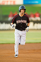 Adam Heisler (6) of the Kannapolis Intimidators rounds the bases after having hit a grand slam home run against the Lakewood BlueClaws at CMC-Northeast Stadium on August 13, 2013 in Kannapolis, North Carolina.  The Intimidators defeated the BlueClaws 12-8.  (Brian Westerholt/Four Seam Images)