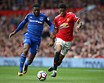 Cuco Martina of Everton challenges Marcus Rashford of Manchester United during the premier league match at the Old Trafford Stadium, Manchester. Picture date 17th September 2017. Picture credit should read: Simon Bellis/Sportimage