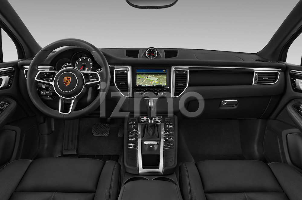 Stock photo of straight dashboard view of 2018 Porsche Macan S 5 Door SUV Dashboard