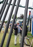 Henley-on-Thames. United Kingdom.  Old Friends meet and chat at the boat tent. 2017 Henley Royal Regatta, Henley Reach, River Thames. <br /> <br /> <br /> 14:57:53  Thursday  29/06/2017   <br /> <br /> [Mandatory Credit. Peter SPURRIER/Intersport Images.