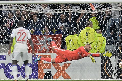 2nd November 2017, Nice, France; EUFA Europa League, Olympique Lyonnais versus Everton;  Anthony Lopes (lyon)  makes a diving save