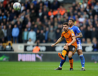 Wolverhampton Wanderers' Ruben Neves battles with Birmingham City's David Davis<br /> <br /> Photographer Ashley Crowden/CameraSport<br /> <br /> The EFL Sky Bet Championship - Wolverhampton Wanderers v Birmingham City - Sunday 15th April 2018 - Molineux - Wolverhampton<br /> <br /> World Copyright &copy; 2018 CameraSport. All rights reserved. 43 Linden Ave. Countesthorpe. Leicester. England. LE8 5PG - Tel: +44 (0) 116 277 4147 - admin@camerasport.com - www.camerasport.com