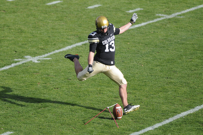 NOVEMBER 20, 2010:  Kicker Aric Goodman warms up before a Big XII conference game between the Kansas State Wildcats and the University of Colorado Buffaloes at Folsom Field in Boulder, Colorado. The Buffaloes beat the Wildcats 44-36. *****For editorial use only*****
