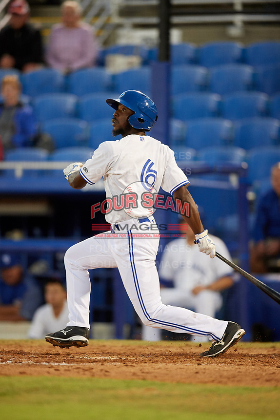 Dunedin Blue Jays designated hitter D.J. Davis (6) follows through on a swing during a game against the Fort Myers Miracle on April 17, 2018 at Dunedin Stadium in Dunedin, Florida.  Dunedin defeated Fort Myers 5-2.  (Mike Janes/Four Seam Images)