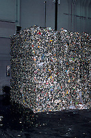 CUBES OF BALED RECYCLED MATERIALS<br /> Crushed &amp; Baled Aluminum Cans<br /> Aluminum Recycled material sorted and packed into large bales inside Recycling Plant.  These large blocks will be shipped to another facility for reprocessing.  Sloatsburg, NY