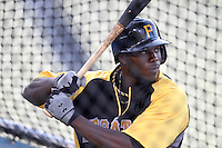 Pittsburgh Pirates second baseman Josh Harrison #62 takes batting practice before a game against the Los Angeles Dodgers at Dodger Stadium on September 17, 2011 in Los Angeles,California. Los Angeles defeated Pittsburgh 6-1.(Larry Goren/Four Seam Images)
