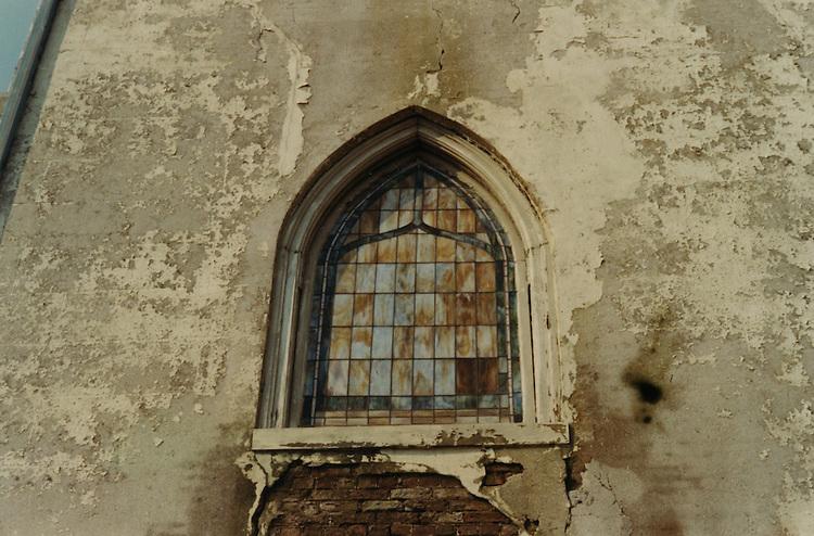 1966 June..Conservation.Downtown North (R-8)..Bank Street Baptist Church.501 Bank Street.Views of Stained Glass Windows..2. Closeup of Window A...NEG#.NRHA#..