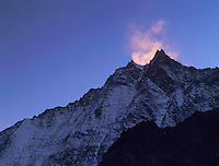 Lenzspitze at sunset, Saas Fee, Swiss Alps, Switzerland