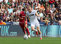 Swansea City's Oliver McBurnie gets away from Nottingham Forest's Adlene Guedioura<br /> <br /> Photographer Ian Cook/CameraSport<br /> <br /> The EFL Sky Bet Championship - Swansea City v Nottingham Forest - Saturday 15th September 2018 - Liberty Stadium - Swansea<br /> <br /> World Copyright &copy; 2018 CameraSport. All rights reserved. 43 Linden Ave. Countesthorpe. Leicester. England. LE8 5PG - Tel: +44 (0) 116 277 4147 - admin@camerasport.com - www.camerasport.com