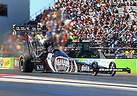 Sept. 21, 2013; Ennis, TX, USA: NHRA top fuel dragster driver Shawn Langdon during qualifying for the Fall Nationals at the Texas Motorplex. Mandatory Credit: Mark J. Rebilas-