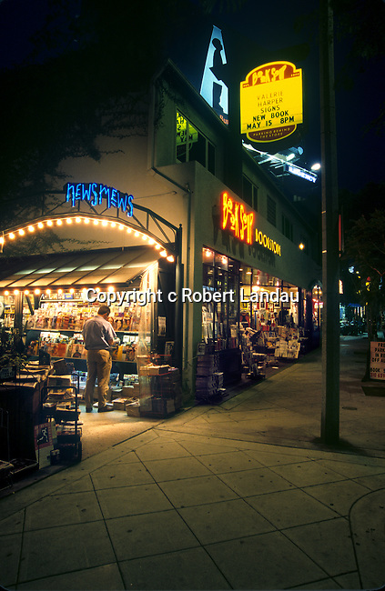 Book Soup book store and news stand on the Sunset Strip in West Hollywood, CA.circa 2001