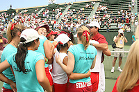 23 May 2006: Celia Durkin and the team celebrate after Stanford's 4-1 win over the Miami Hurricanes in the 2006 NCAA Division 1 Women's Tennis Team Championships at the Taube Family Tennis Stadium in Stanford, CA.