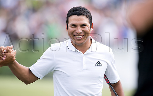25th June 2017, Golf, Moosinning, Germany;  Argentinian  Andres Romero is happy after the men's singles 4th round at the International Open European Tour in Moosinning, Germany, 25 June 2017. Romero is the winner of the Golf International Open 2017.