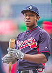 4 April 2014: Atlanta Braves center fielder B.J. Upton awaits his turn in the batting cage prior to the Washington Nationals Home Opening Game at Nationals Park in Washington, DC. The Braves edged out the Nationals 2-1 in their first meeting of the 2014 MLB season. Mandatory Credit: Ed Wolfstein Photo *** RAW (NEF) Image File Available ***