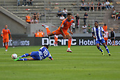 01.08.2015. Cologne, Germany. Pre Season Tournament. Colonia Cup. Valencia CF versus FC Porto.  Joao Cancelo goes flying after a strong, challenge from Ruben Neves.