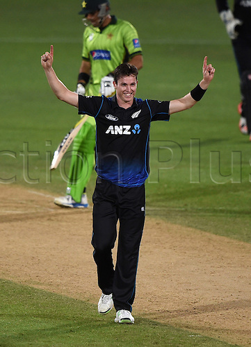 03.02.2015. Napier, New Zealand.  Adam Milne celebrates a wicket. ANZ One Day International Cricket Series. Match 2 between New Zealand Black Caps and Pakistan at McLean Park in Napier, New Zealand.