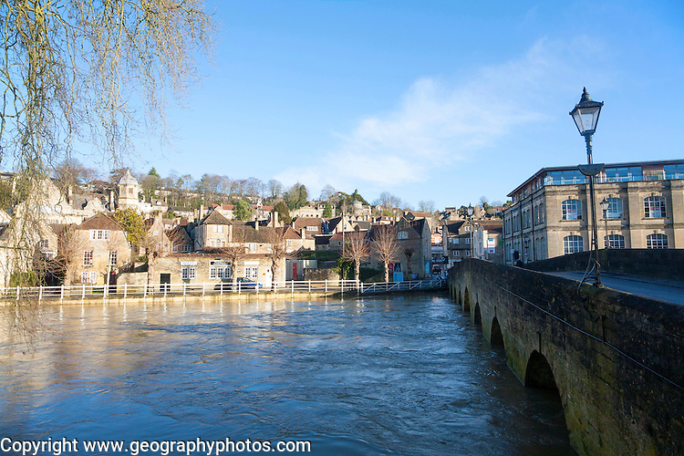 Bridge over River Avon with high level of water, Bradford on Avon, Wiltshire, England