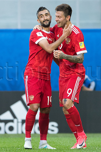 17th June 2017, St Petersburg, Russia; FIFA 2017 Confederations Cup football, Russia versus New Zealand; Group A - Saint Petersburg Stadium,  Russia's goalscorer Fedor Smolov (r) and Alexander Samedov celebrate the goal for 2:0 during the Confederations Cup Group A soccer match between Russia and New Zealand at the stadium in Saint Petersburg, Russia, 17 June 2017.