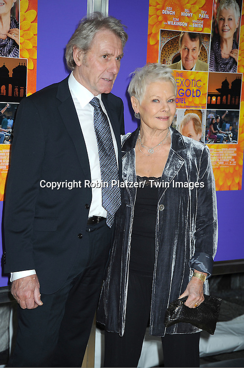 "Dame Judi Dench and boyfriend David Mills attends the New York Premiere of "" The Best Exotic Marigold Hotel"" on April 23, 2012 at The Ziegfeld Theatre in New York City. Dame Judi Dench, Tom Wilkinson and Tena Desae are the stars of the movie."