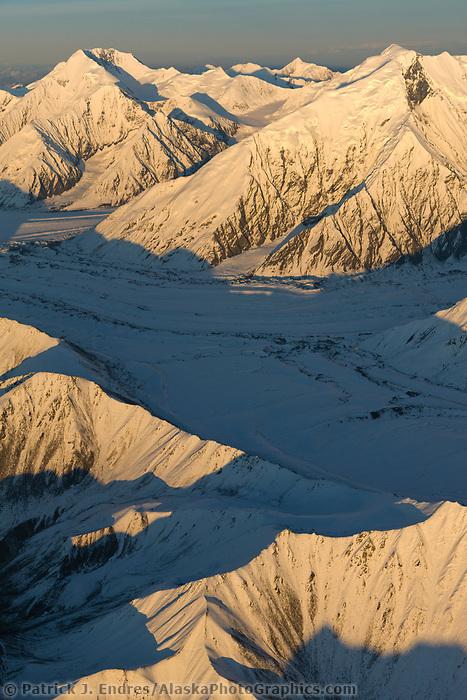 Mount Brooks (right) and mount mather (left) Alaska Range, muldrow, traleika, Brooks glaciers. Denali National Park, Interior, Alaska.