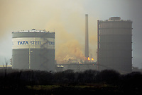 2016 02 11 Lightning strike causes fire at Tata Steel Works,Port Talbot,UK