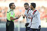 Andrea Poli and Nicola Sansone of Bologna protest against the referee Marco Piccinini's decision during the Serie A match at Stadio Grande Torino, Turin. Picture date: 12th January 2020. Picture credit should read: Jonathan Moscrop/Sportimage