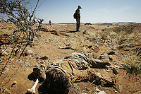 An unburied civilian lays in back of his village, Twasha, in north Darfur on Nov 2004. A group of at least 15 darfurians were executed by the Janjaweeds while they were hiding in the hills in JAn- Feb 2004. the genocide began two years ago, since then hundreds of thousands of innocent darfurians were killed and millions have been displaced. athough 200.000 floded into Chad and found help from the international community, the majority still lives in fear in the inner borders in drammatic conditions.