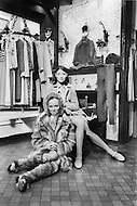 New York City. October, 1966. Emanuelle Khan with one of her models presenting her fur collection at Gavroche Boutique on 827 Madison Avenue at 69th Street.