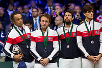 Le joueur de tennis français Lucas Pouille opposé au joueur Croate Marin Cilic lors de la  Finale de la Coupe Davis France vs Croatie, au Stade Pierre Mauroy à Villeneuve d'Ascq .<br /> France, Villeneuve d'Ascq , 25 novembre 2018.<br /> French tennis player Lucas Pouille vs Croatian tennis players Marin Cilic during the final of the Davis Cup, at the Pierre Mauroy stadium in Villeneuve d'Ascq .<br /> France, Villeneuve d'Ascq , 25 November 2018<br /> Pic : Yannick Noah & Lucas Pouille, Jérémy Chardy, Pierre-Hugues Herbert