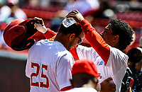 Yordan Manduley (L) of the Alamas of Granma Cuba celebrates scoring with Roel Santos (R) in the first innig, during the Caribbean Series baseball game against the Caribes de Anzoátegui of Venezuela in Guadalajara, Mexico, on Friday, February 2 , 2018. (AP Photo / Luis Gutierrez)