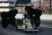 Oct. 6, 2012; Mohnton, PA, USA: NHRA top fuel dragster driver Morgan Lucas during qualifying for the Auto Plus Nationals at Maple Grove Raceway. Mandatory Credit: Mark J. Rebilas-