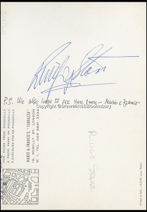 BNPs.co.uk (01202 558833)<br /> Pic: Dreweatts&Bloomsbury/BNPS<br /> <br /> Beatles drummer Ringo Starr.<br /> <br /> An Italian waiter's stunning collection of autographs of diners that reads like a Who's Who of celebrities from the Swinging Sixties has emerged for sale. <br /> <br /> The late waiter, named only as 'Dino', worked at the famous La Terrazza restaurant in London's Soho which became a haunt of the great and the good from the showbusiness world.<br /> <br /> His daughter is now set for a £4,000 tip when the impressive collection sells at auction.
