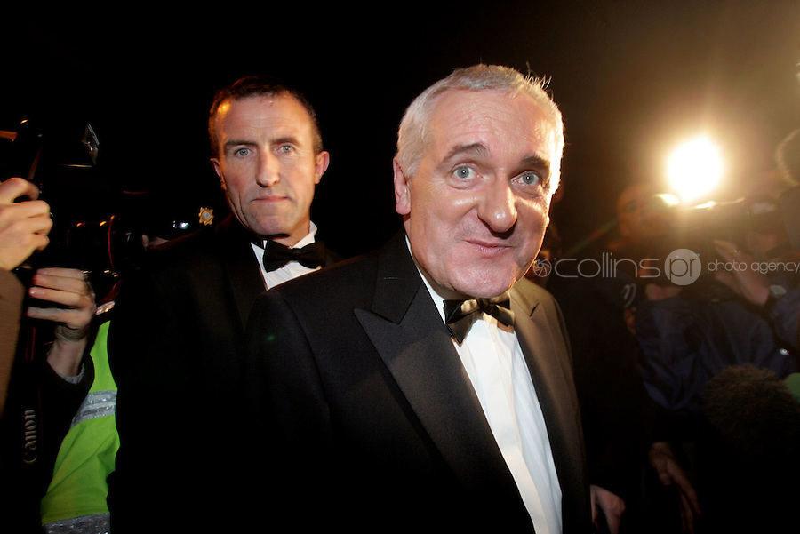 6/10/06 Taoisech Bertie Ahern arrives at a school reunion dinner at Gonzaga College SK in Ranelagh, Dublin. Picture:Arthur Carron/Collins