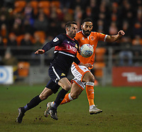 Blackpool's Liam Feeney battles with Doncaster Rovers' Matty Blair<br /> <br /> Photographer Dave Howarth/CameraSport<br /> <br /> The EFL Sky Bet League One - Blackpool v Doncaster Rovers - Tuesday 12th March 2019 - Bloomfield Road - Blackpool<br /> <br /> World Copyright © 2019 CameraSport. All rights reserved. 43 Linden Ave. Countesthorpe. Leicester. England. LE8 5PG - Tel: +44 (0) 116 277 4147 - admin@camerasport.com - www.camerasport.com