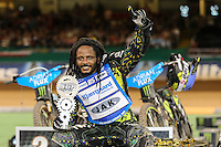 ANTONIO LINDBACK (Sweeden) celebrates winning the 2016 Adrian Flux British FIM Speedway Grand Prix at Principality Stadium, Cardiff, Wales  on 9 July 2016. Photo by David Horn.