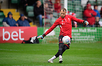 Lincoln City's Sam Slocombe during the pre-match warm-up<br /> <br /> Photographer Chris Vaughan/CameraSport<br /> <br /> The EFL Sky Bet League Two - Lincoln City v Crewe Alexandra - Saturday 6th October 2018 - Sincil Bank - Lincoln<br /> <br /> World Copyright &copy; 2018 CameraSport. All rights reserved. 43 Linden Ave. Countesthorpe. Leicester. England. LE8 5PG - Tel: +44 (0) 116 277 4147 - admin@camerasport.com - www.camerasport.com