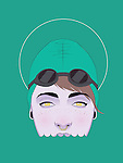 Illustration of woman in trendy swimming cap and goggles against green background
