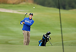VALENTINE, NE - OCTOBER 2: Jaxon Lynn from South Dakota State University chips on to the first green during the SDSU Invite Monday at The Prairie Club in Valentine, NE. (Photo by Dave Eggen/Inertia)